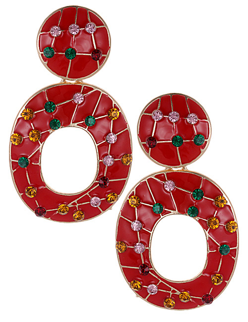 Fashion Red Full Diamond Decorated Round Earrings