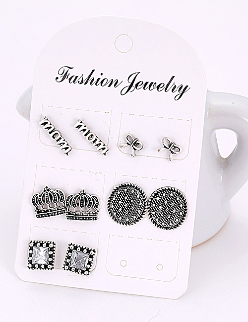 Fashion Silver Color Geometric Shape Decorated Earrings(5pairs)