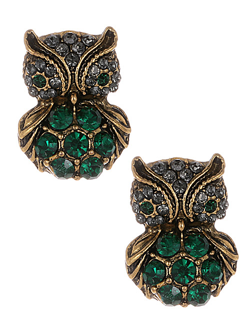 Fashion Green Owl Shape Decorated Earrings