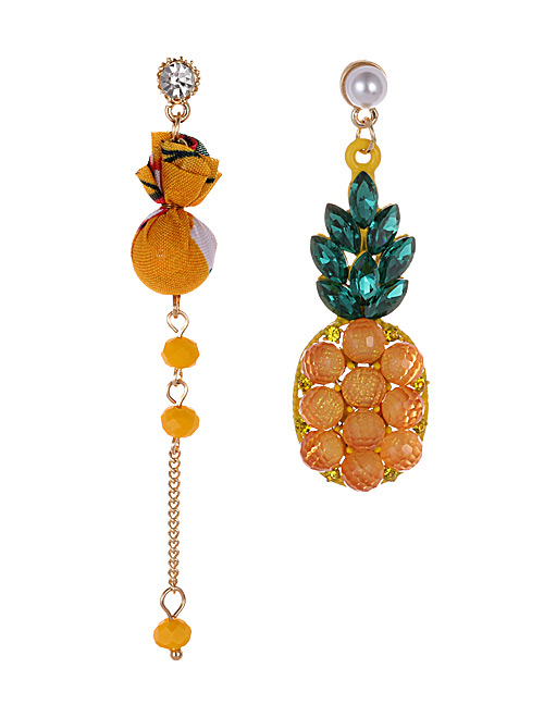 Fashion Yellow Pineapple Shape Decorated Earrings