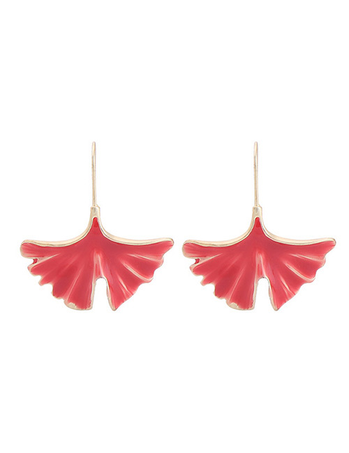 Fashion Red Leaf Shape Design Earrings