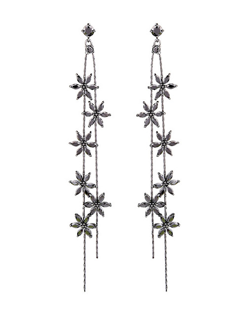 Fashion Silver Color Flower Shape Decorated Tassel Earrings