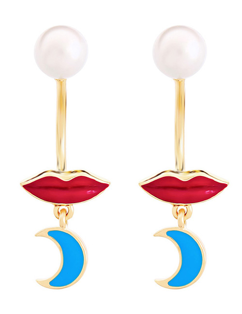 Fashion Red+blue Lips Shape Decorated Earrings