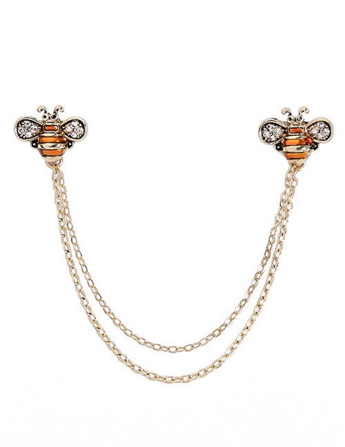 Fashion Orange Bee Shape Decorated Brooch