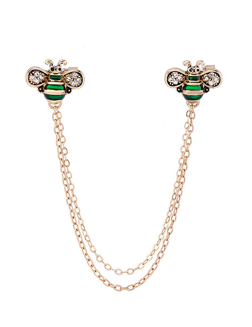 Fashion Green Bee Shape Decorated Brooch