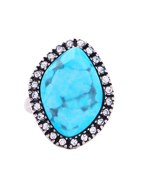 Fashion Blue Geometric Shape Decorated Ring