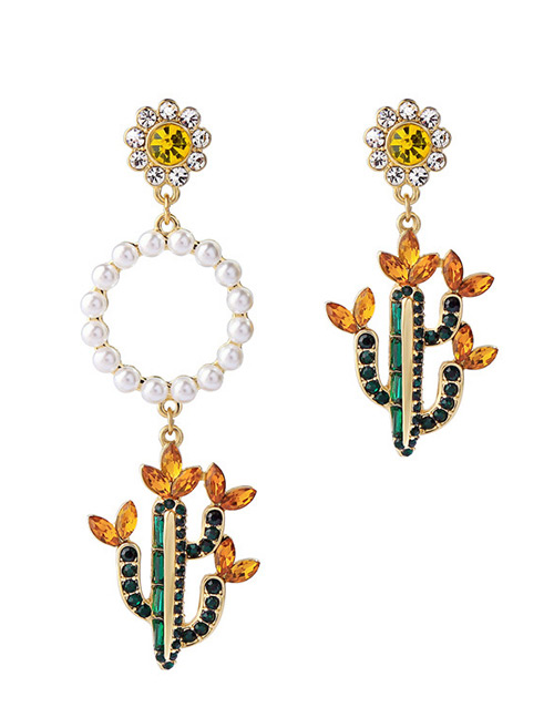 Fashion Multi-color Cactus Shape Decorated Earrings