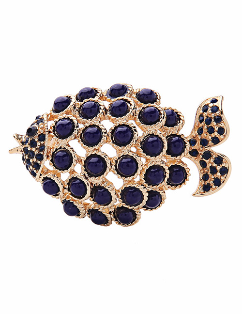 Fashion Blue Fish Shape Decorated Brooch