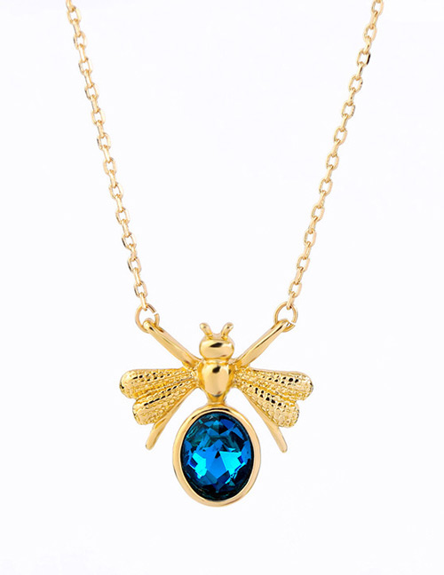 Fashion Blue Bee Shape Decorated Necklace
