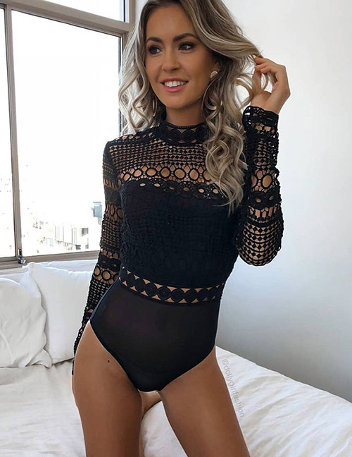 Sexy Black Hollow Out Deisgn Long Sleeves Jumpsuit