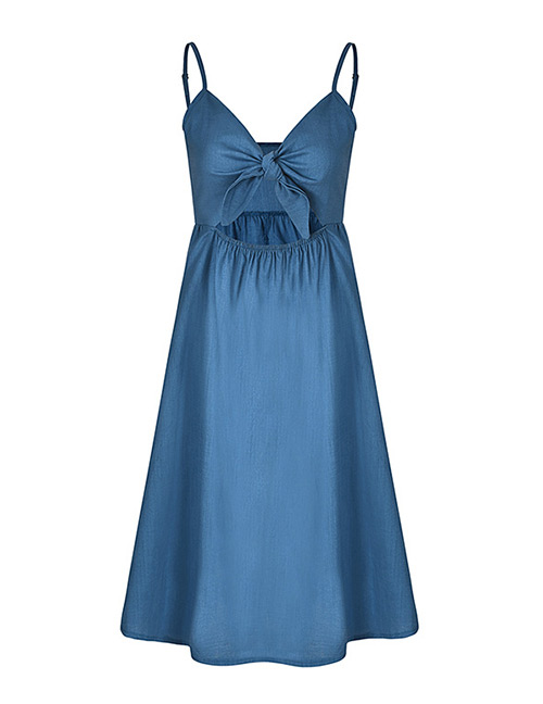 Fashion Blue Pure Color Decorated Dress