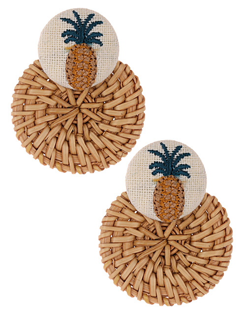 Fashion Khaki Pineapple Shape Decorated Earrings
