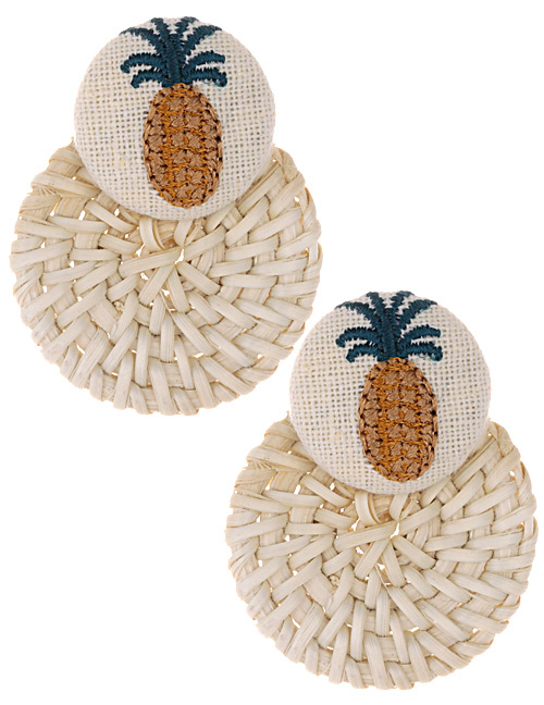 Fashion White Pineapple Shape Decorated Earrings