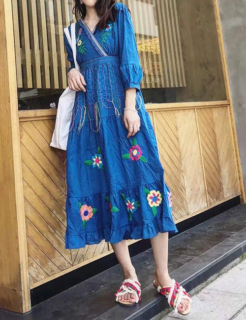 Fashion Blue Flower Pattern Decorated Long Sleeves Dress
