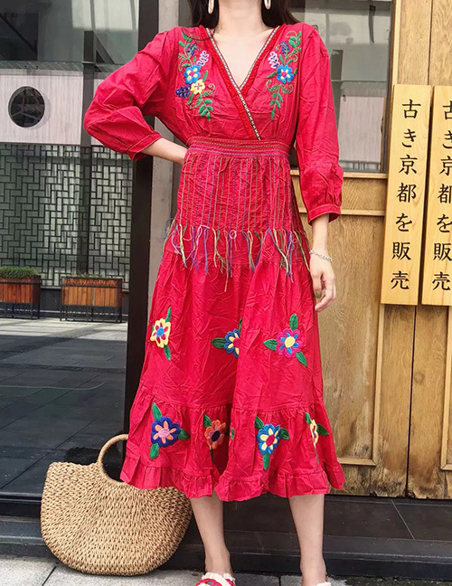 Fashion Red Flower Pattern Decorated Long Sleeves Dress