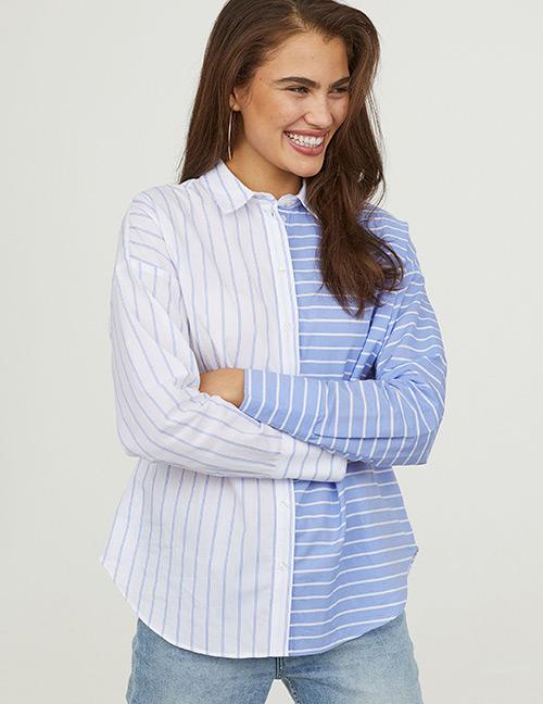 Fashion White+blue Stripe Pattern Decorated Shirt