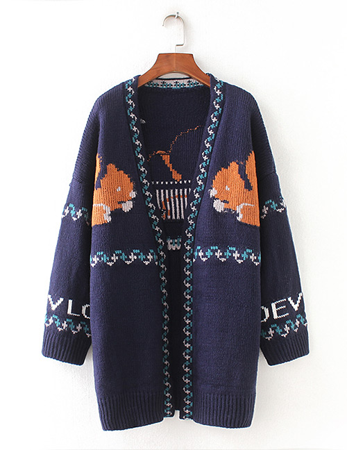Fashion Navy Squirrel Pattern Decorated Sweater