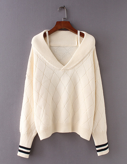 Fashion Beige Grids Pattern Decorated Sweater