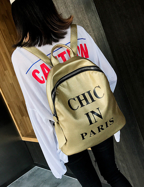 Fashion Gold Color Letter Pattern Decorated Backpack