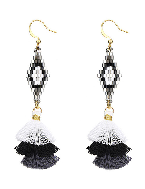 Fashion Black Rhombus Shape Decorated Tassel Earrings