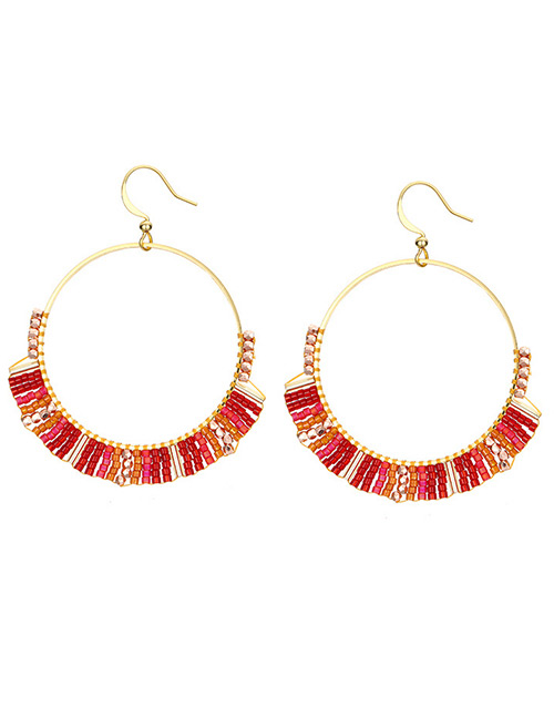 Fashion Red Round Shape Decorated Earrings