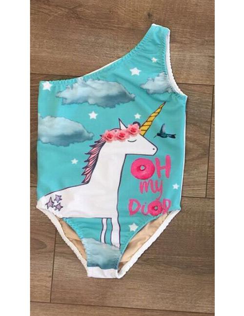 Lovely Blue Unicorn Pattern Decorated Swimwear for Children