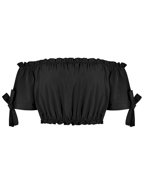 Fashion Black Pure Color Decorated Vest