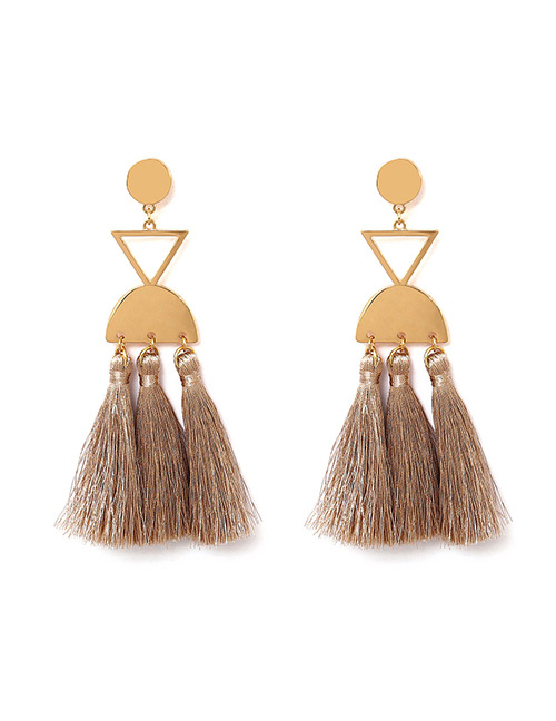 Fashion Khaki Geometric Shape Decorated Tassel Earrings
