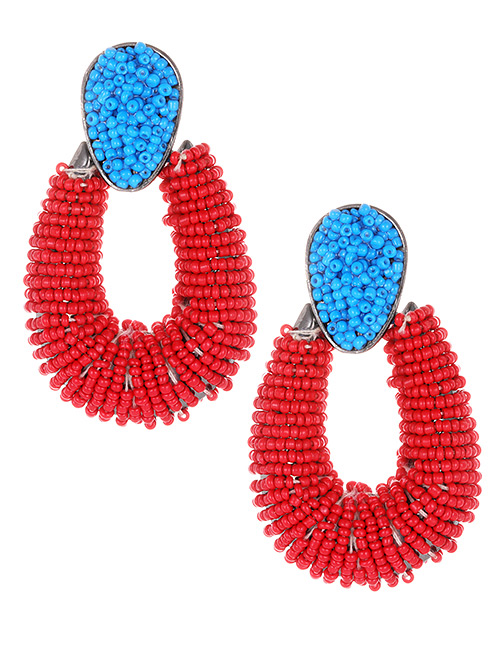 Fashion Red+blue Waterdrop Shape Decorated Earrings