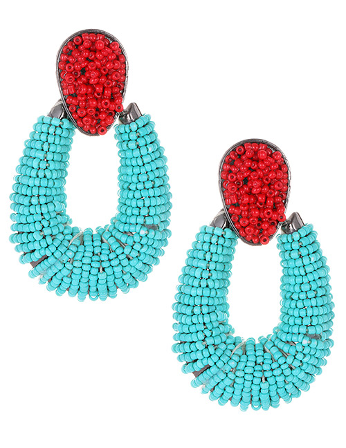 Fashion Blue+red Waterdrop Shape Decorated Earrings