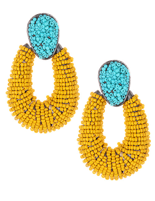 Fashion Blue+yellow Waterdrop Shape Decorated Earrings