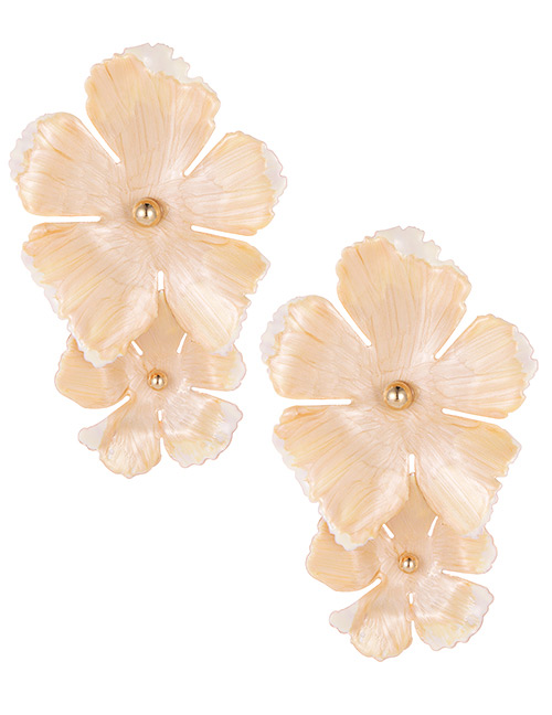 Fashion Beige Flower Shape Decorated Earrings