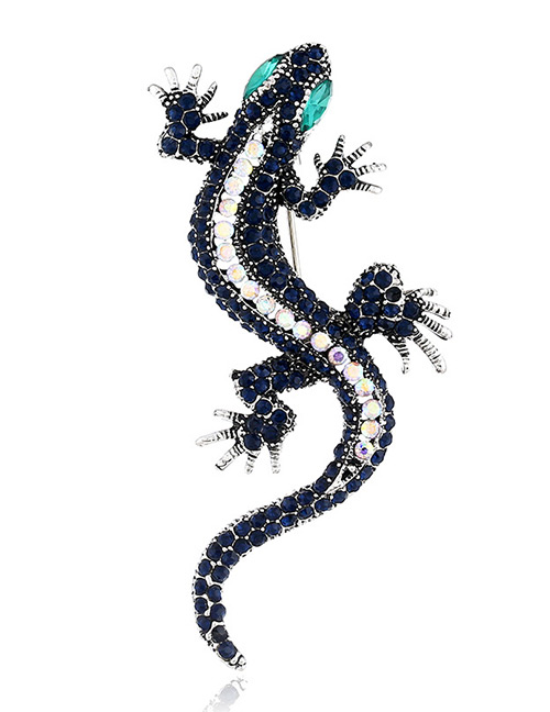 Fashion Navy Gecko Shape Design Brooch