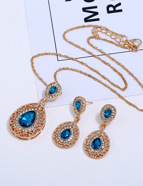 Fashion Blue Waterdrop Shape Decorated Jewelry Sets