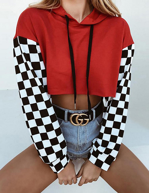 Fashion Red Grids Pattern Decorated Sweatshirt