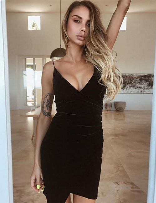 Fashion Black V Neckline Design Pure Color Dress