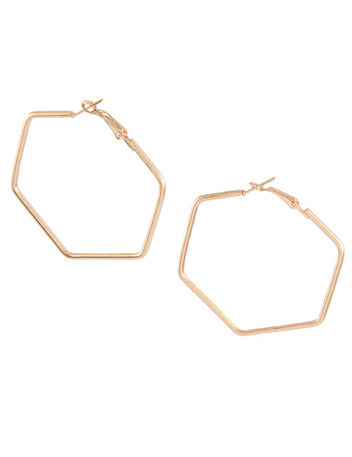 Fashion Rose Gold Geometric Shape Decorated Earrings