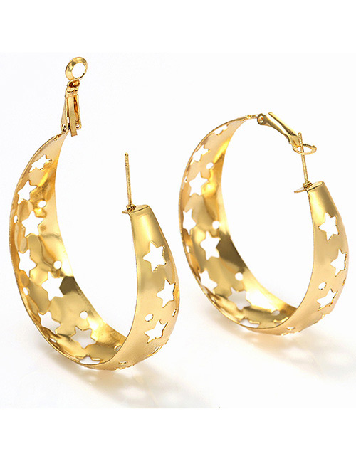 Fashion Gold Color Hollow Out Design Star Shape Earrings