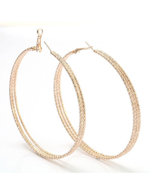 Fashion Rose Gold Round Shape Decorated Pure Color Earrings