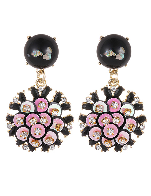 Fashion Multi-color Flower Shape Decorated Round Earrings