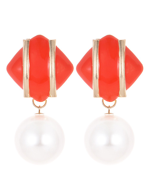Fashion Orange Geometric Shape Decorated Earrings