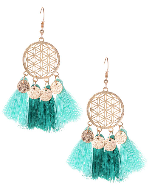 Fashion Green Hollow Out Design Tassel Earrings