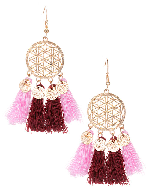 Fashion Pink Hollow Out Design Tassel Earrings