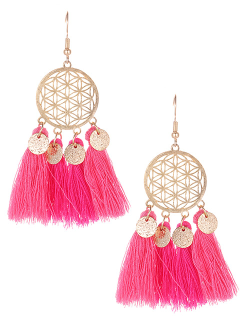 Fashion Plum Red Hollow Out Design Tassel Earrings