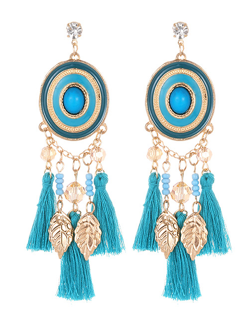 Fashion Blue Leaf Shape Decorated Tassel Earrings