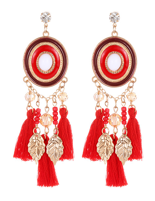 Fashion Red Leaf Shape Decorated Tassel Earrings