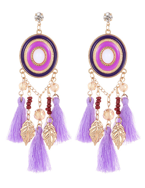 Fashion Purple Leaf Shape Decorated Tassel Earrings