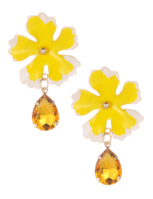 Fashion Yellow Waterdrop Shape Decorated Flower Earrings