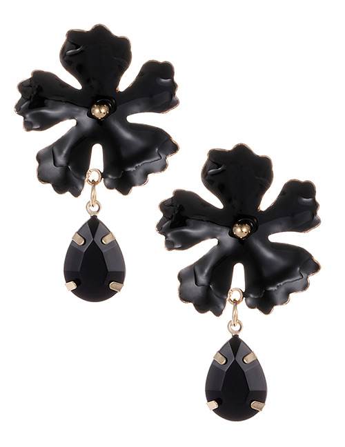 Fashion Black Waterdrop Shape Decorated Flower Earrings