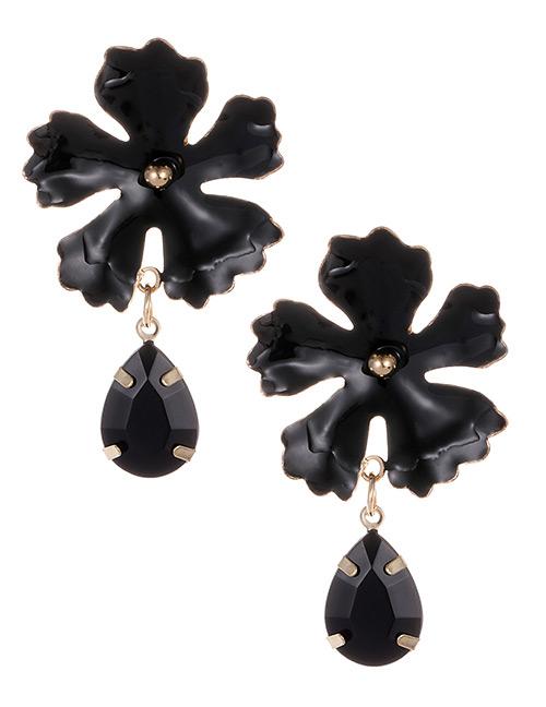 Fashion Black Waterdrop Shape Decorated Flower Earrings